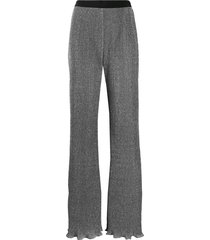 alberta ferretti lurex knit flared trousers - black