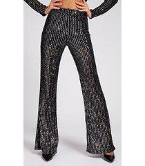 cekinowe spodnie z nogawką typu flare