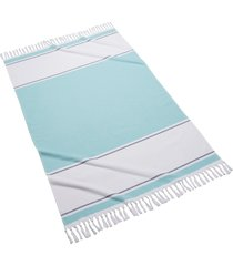 kassatex glendale colorblock fringed beach towel, size one size - blue
