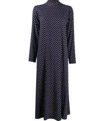 ganni heart-print mid-length dress - blue