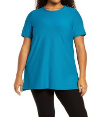 plus size women's eileen fisher short sleevetunic top, size 3x - blue