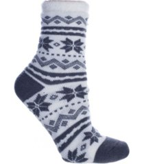 minxny women's snowflakes double layer shea butter infused slipper socks