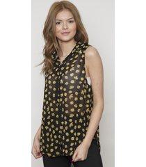 blusa con botones sin manga amarilla 609 seisceronueve