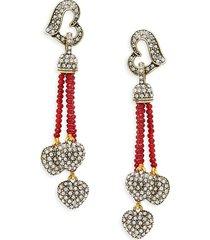 heidi daus women's goldtone & crystal beaded heart drop earrings