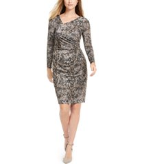 vince camuto asymmetrical snake-print bodycon dress