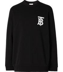 burberry monogram motif crew neck sweatshirt - black