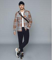 reiss castle - check cotton zip through jacket in blue, mens, size xxl
