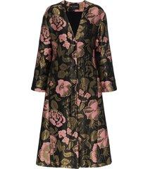 etro long floral belted jacquard coat - black