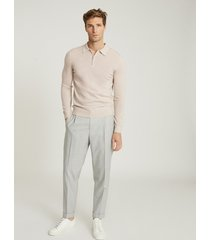 reiss robertson - merino wool zip neck polo shirt in chalk, mens, size xxl