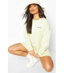 acid wash embroided sweatshirt dress, sage