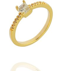 anel dona diva semi joias solitário quadrado dourado
