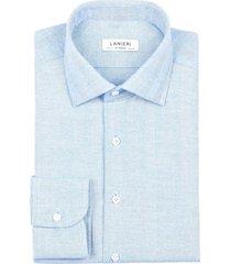 camicia da uomo su misura, canclini, flanella spiga larga azzurra, autunno inverno | lanieri