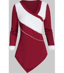 furry longline two tone sweater