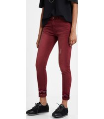 boho denim trousers - red - 46