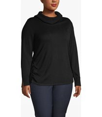 lane bryant women's side-ruched cowl-neck sweater 26/28 black