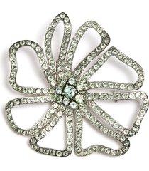 swarovski crystal pavé floral brooch