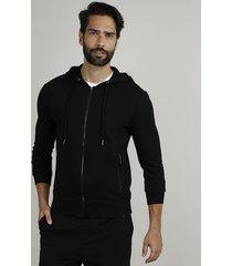 blusão masculino slim em moletom texturizado com capuz e bolsos preto