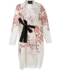biyan radine floral-embroidered lace evening coat - white