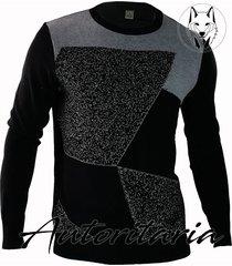 sweater diseño geometrico para hombre casual autoritaria sa12 - negro
