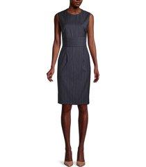 boss hugo boss women's dometa traceable pinstriped stretch virgin wool dress - midnight - size 10