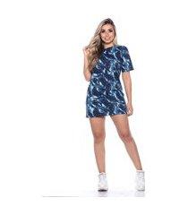 vestido camisetão camuflado m&a modas street azul