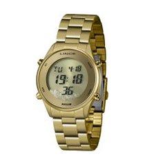 relógio digital lince feminino - sdg4638l dourado