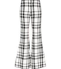 balmain check tweed flared trousers - black