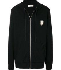 ih nom uh nit long embroidered hoodie - black
