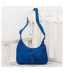 cotton hobo bag, 'ocean day' (guatemala)