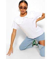 petite t-shirt met peter pan kraag, white