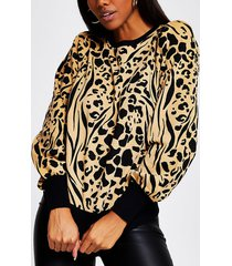 river island womens brown puff sleeve animal print sweatshirt