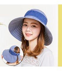 donna cappello a secchiello estivo pieghevole con tesa larga da viaggio spiaggia