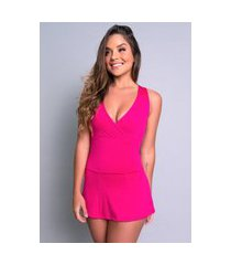 macaquinho mvb modas vestido curto short saia rosa