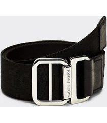 tommy hilfiger women's webbed logo belt black - 32