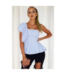 mishka peplum ruches top pale blauw