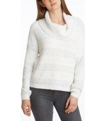 women's striped cowl neck sweater