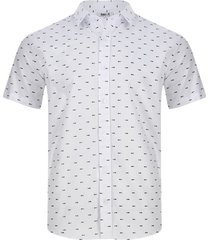 camisa estampado esqueleto peces color blanco, talla xs