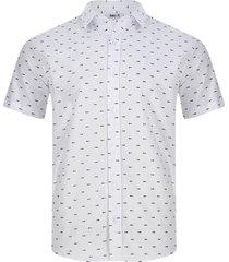 camisa estampado esqueleto peces color blanco, talla xs