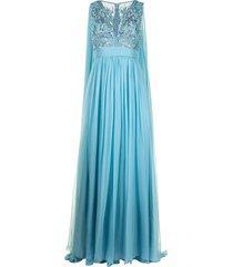 zuhair murad embellished bodice flyaway gown - blue