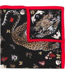 alexander mcqueen leopard print motif scarf - black