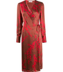 equipment cherry blossom-print satin wrap dress - red
