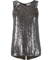 p.a.r.o.s.h. sequin disco vest top - prateado