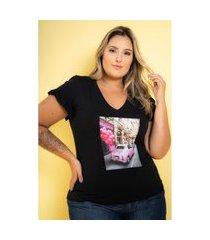 t-shirt babado com aplicação black plus size 48 maria rosa plus blusas preto