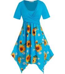 plus size sunflower crossover hanky hem casual dress