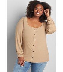 lane bryant women's blouson sleeve square-neck knit top 14/16 tan