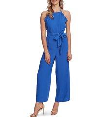 women's cece sleeveless belted ruffle jumpsuit, size 14 - blue