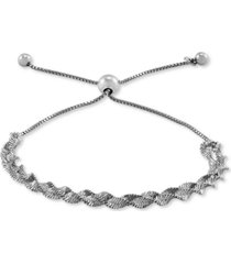 giani bernini twisted herringbone bolo bracelet in sterling silver, created for macy's