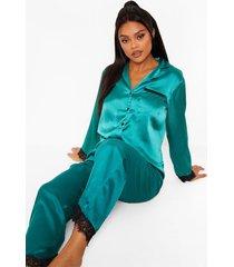 mix & match satijnen pyjama broek met kanten zoom, emerald