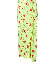 de la vali rose-print gathered satin skirt - green