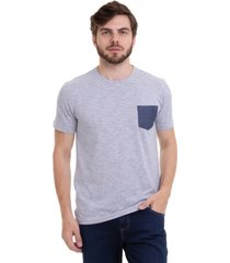 camiseta listrada com bolso hifen azul - azul - masculino - algodã£o - dafiti